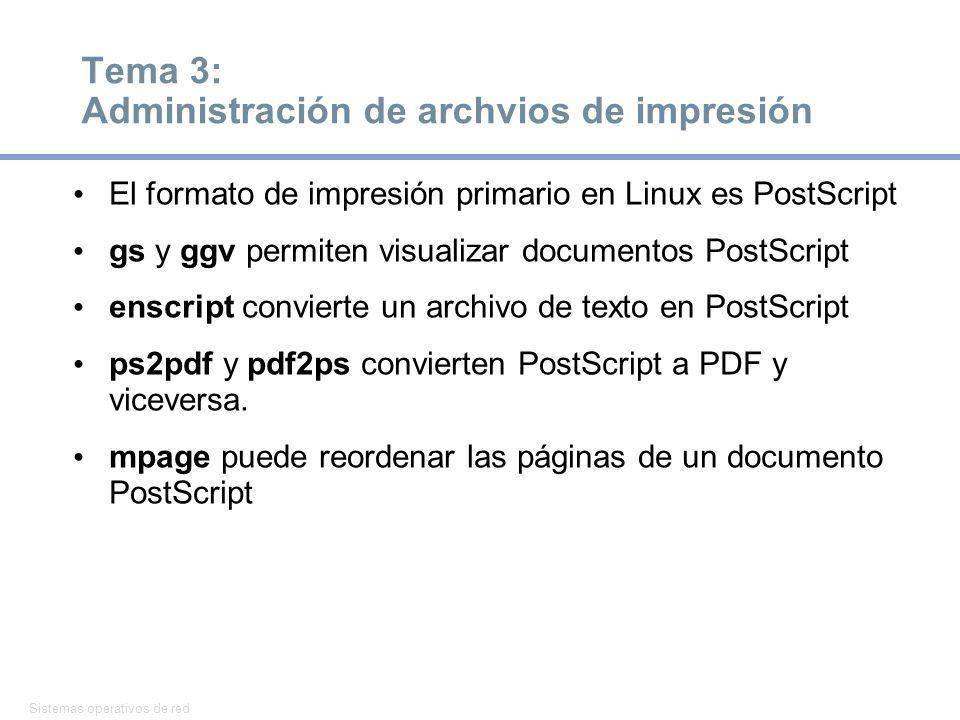 Sistemas operativos de red 12 Tema 3: Administración de archvios de impresión El formato de impresión primario en Linux es PostScript gs y ggv permiten visualizar documentos PostScript enscript convierte un archivo de texto en PostScript ps2pdf y pdf2ps convierten PostScript a PDF y viceversa.