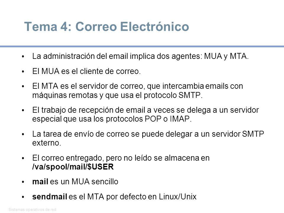 Sistemas operativos de red 18 Tema 4: Correo Electrónico La administración del email implica dos agentes: MUA y MTA. El MUA es el cliente de correo. E