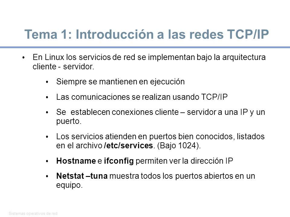 Sistemas operativos de red 2 Tema 1: Introducción a las redes TCP/IP En Linux los servicios de red se implementan bajo la arquitectura cliente - servi