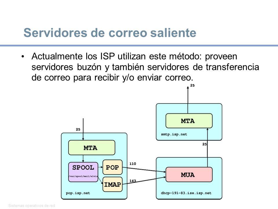 Sistemas operativos de red 22 Servidores de correo saliente Actualmente los ISP utilizan este método: proveen servidores buzón y también servidores de transferencia de correo para recibir y/o enviar correo.