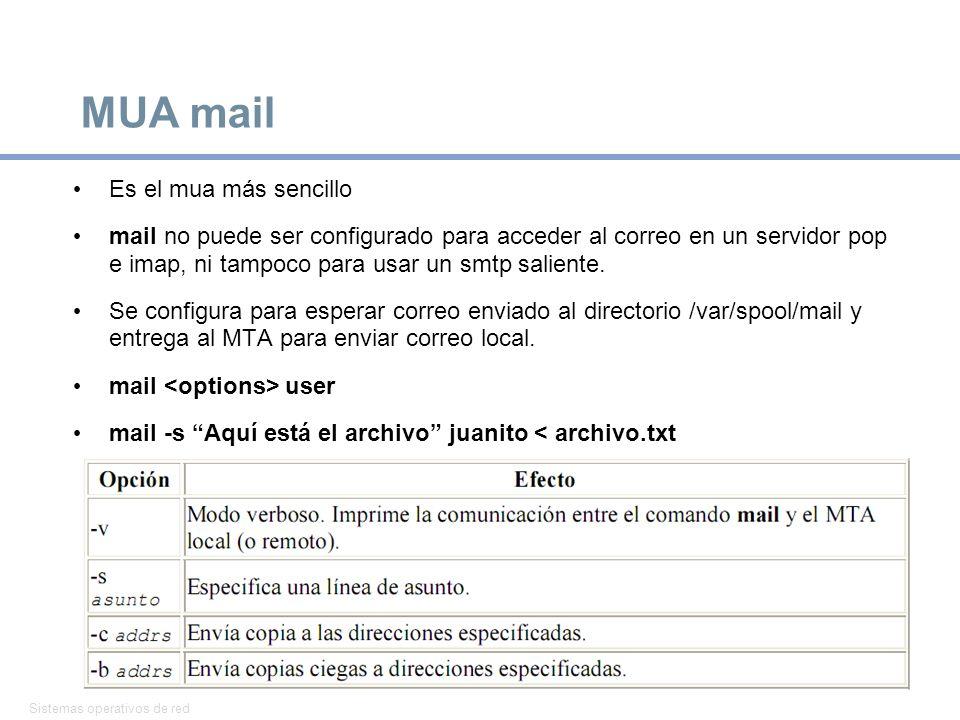 Sistemas operativos de red 24 MUA mail Es el mua más sencillo mail no puede ser configurado para acceder al correo en un servidor pop e imap, ni tampoco para usar un smtp saliente.
