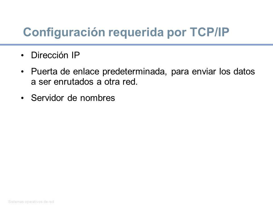 Sistemas operativos de red 26 Configuración requerida por TCP/IP Dirección IP Puerta de enlace predeterminada, para enviar los datos a ser enrutados a