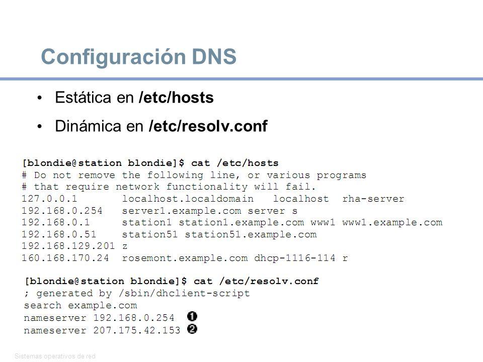 Sistemas operativos de red 28 Configuración DNS Estática en /etc/hosts Dinámica en /etc/resolv.conf