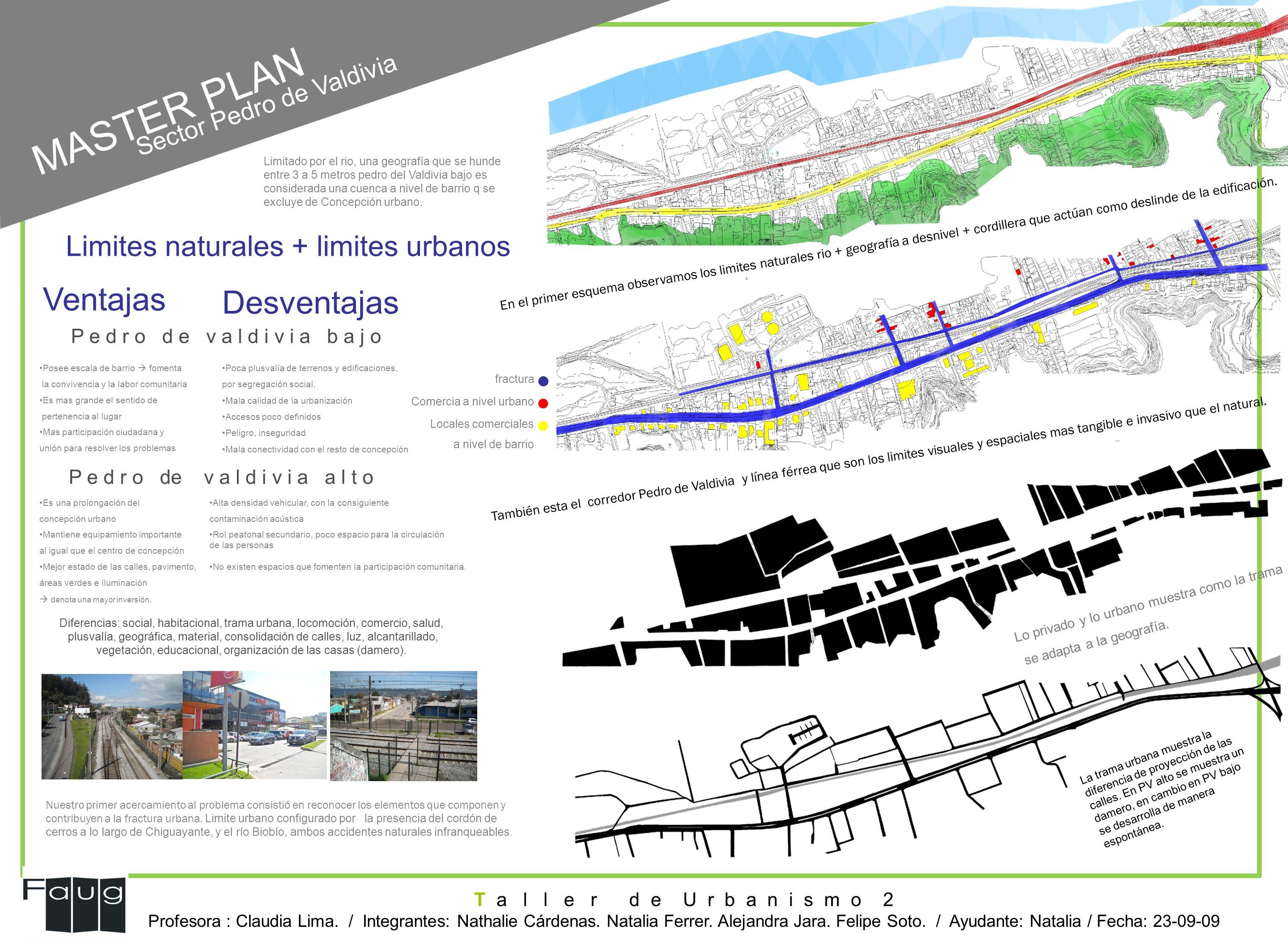 En el primer esquema observamos los limites naturales rio + geografía a desnivel + cordillera que actúan como deslinde de la edificación. También esta