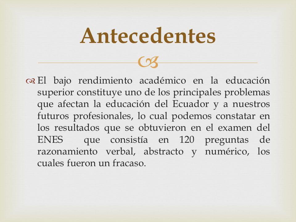 El bajo rendimiento académico en la educación superior constituye uno de los principales problemas que afectan la educación del Ecuador y a nuestros f