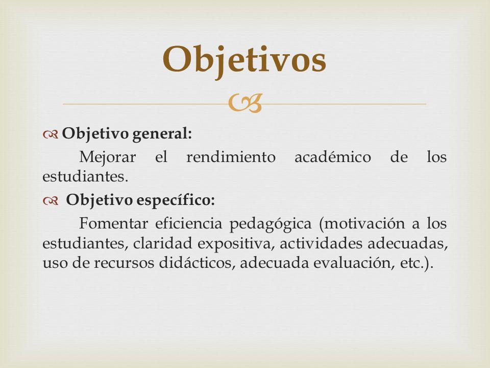 Objetivo general: Mejorar el rendimiento académico de los estudiantes. Objetivo específico: Fomentar eficiencia pedagógica (motivación a los estudiant