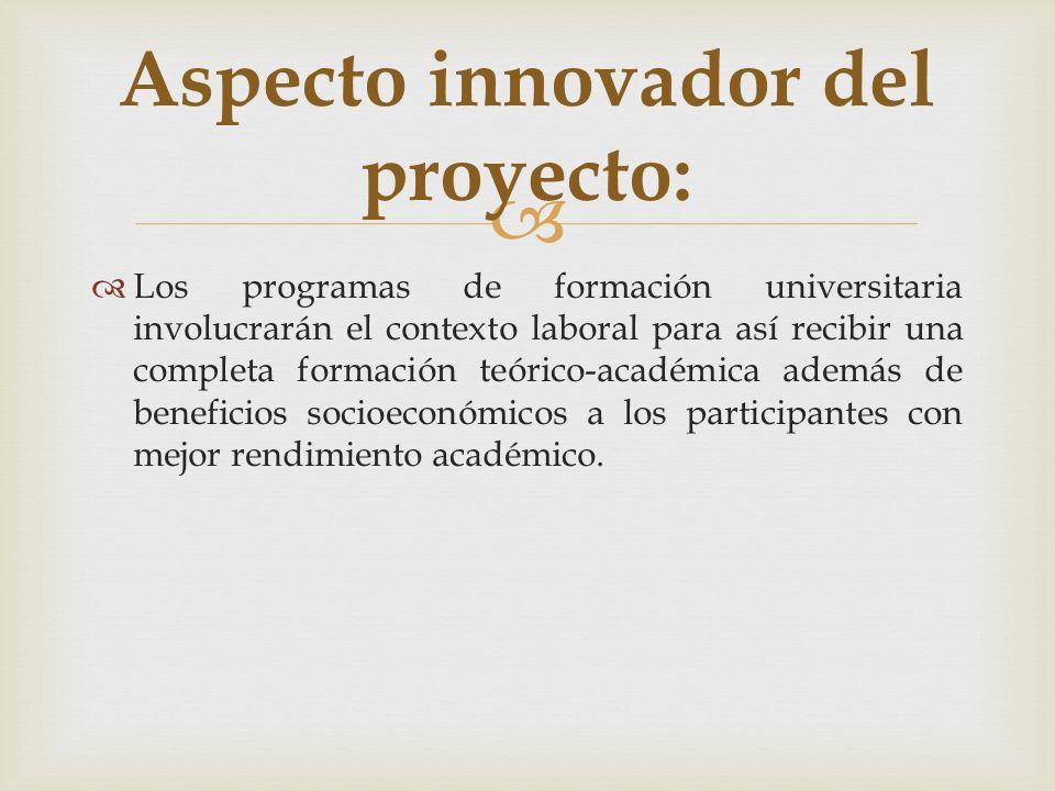 Los programas de formación universitaria involucrarán el contexto laboral para así recibir una completa formación teórico-académica además de benefici