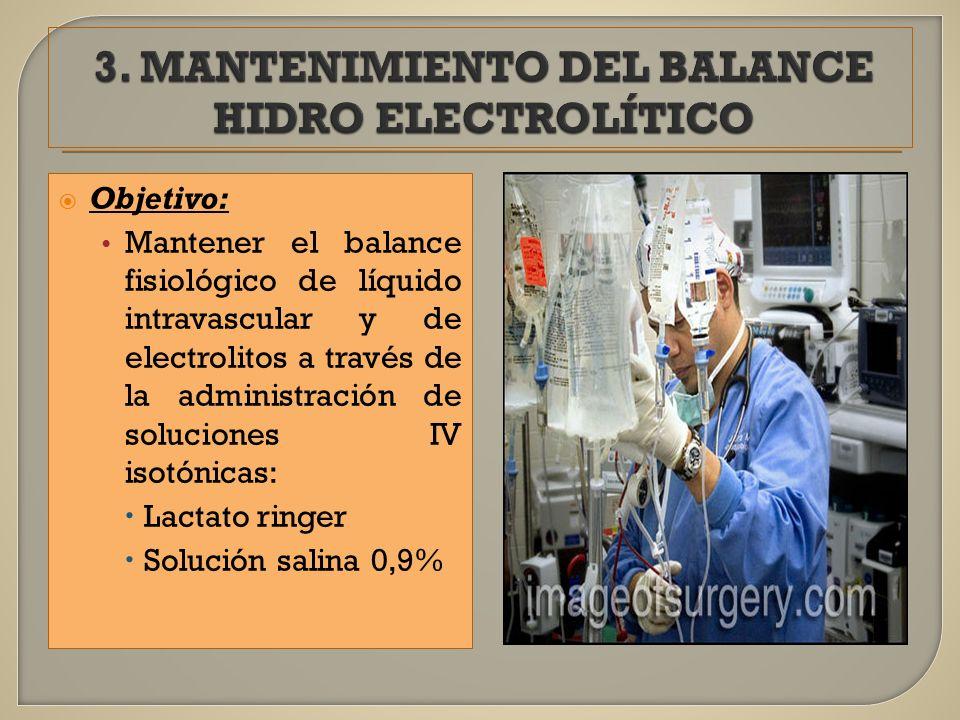 Objetivo: Mantener el balance fisiológico de líquido intravascular y de electrolitos a través de la administración de soluciones IV isotónicas: Lactat