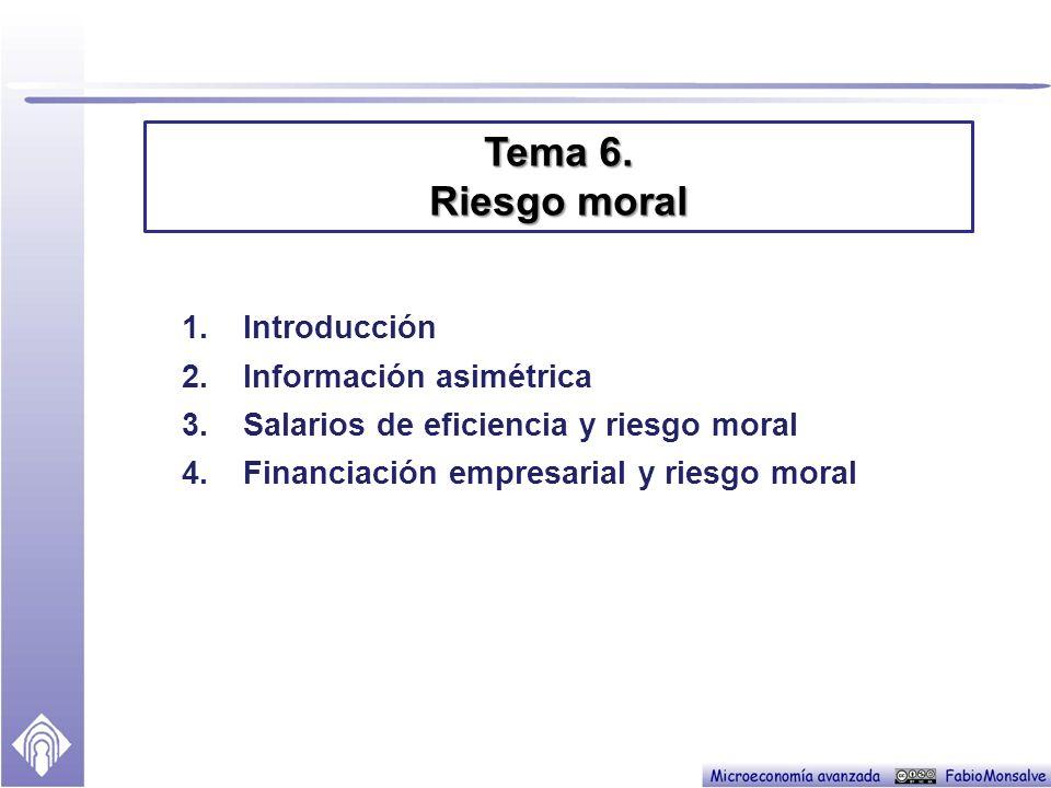 1.Introducción 2.Información asimétrica 3.Salarios de eficiencia y riesgo moral 4.Financiación empresarial y riesgo moral Tema 6.