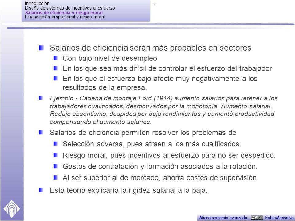 Introducción Diseño de sistemas de incentivos al esfuerzo Salarios de eficiencia y riesgo moral Financiación empresarial y riesgo moral Introducción Diseño de sistemas de incentivos al esfuerzo Salarios de eficiencia y riesgo moral Financiación empresarial y riesgo moral..