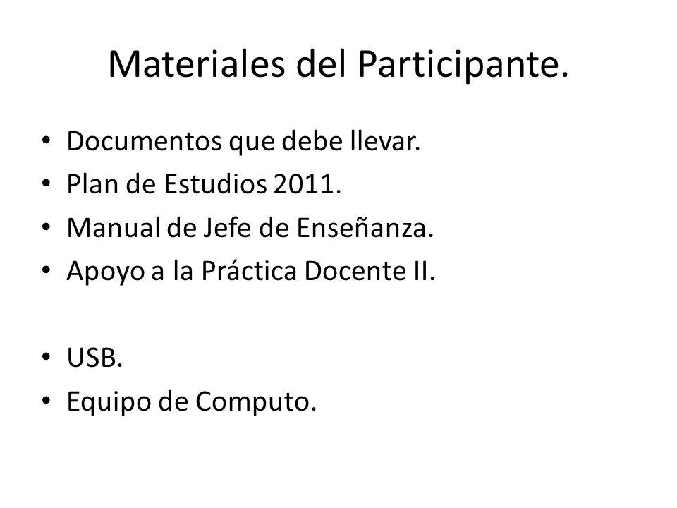 Materiales del Participante.Documentos que debe llevar.
