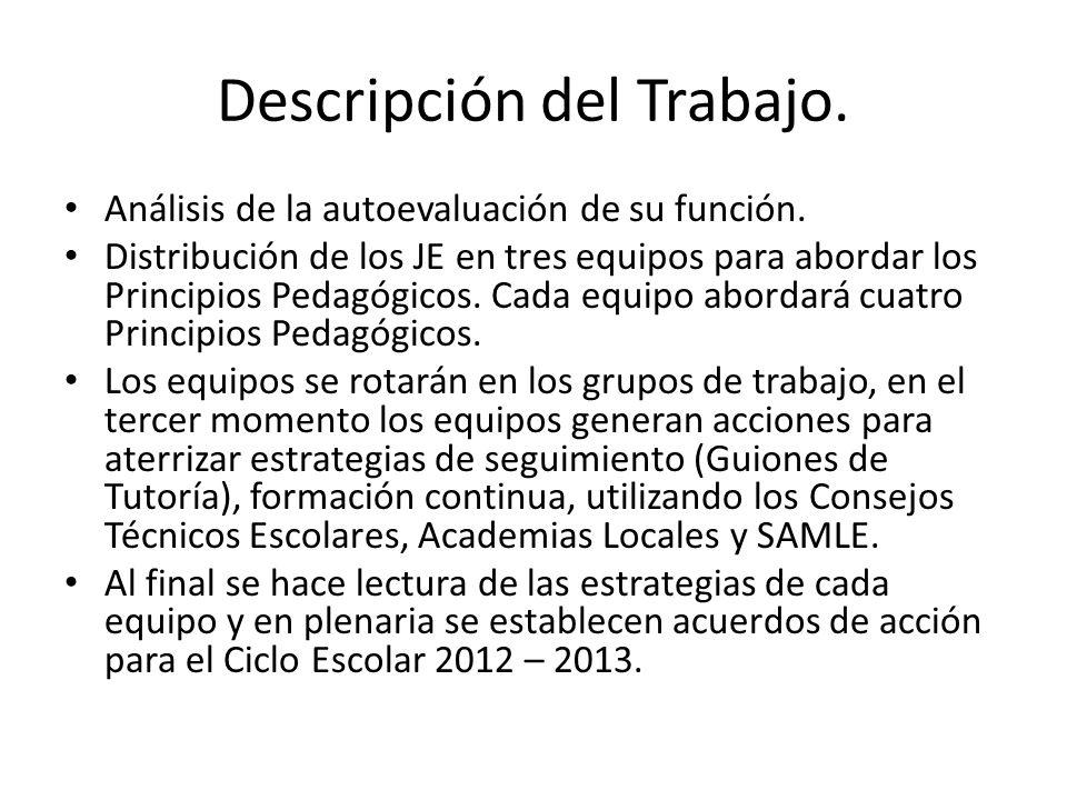 Descripción del Trabajo.Análisis de la autoevaluación de su función.