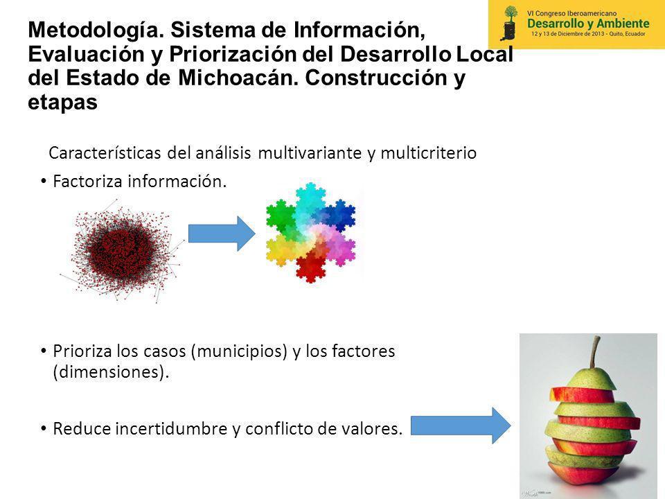 Metodología. Sistema de Información, Evaluación y Priorización del Desarrollo Local del Estado de Michoacán. Construcción y etapas Características del