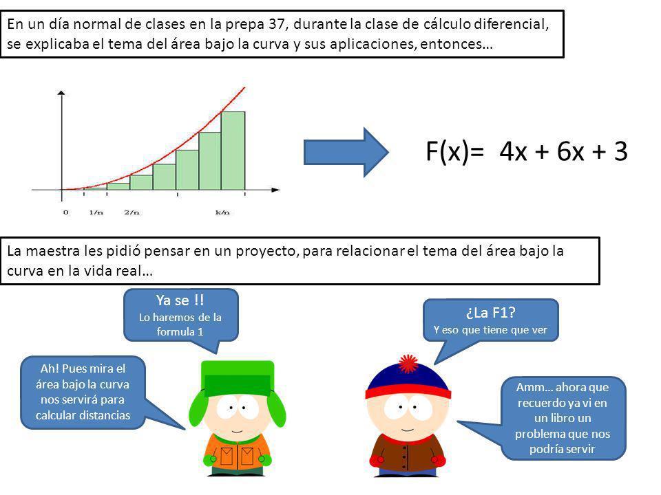 En un día normal de clases en la prepa 37, durante la clase de cálculo diferencial, se explicaba el tema del área bajo la curva y sus aplicaciones, en
