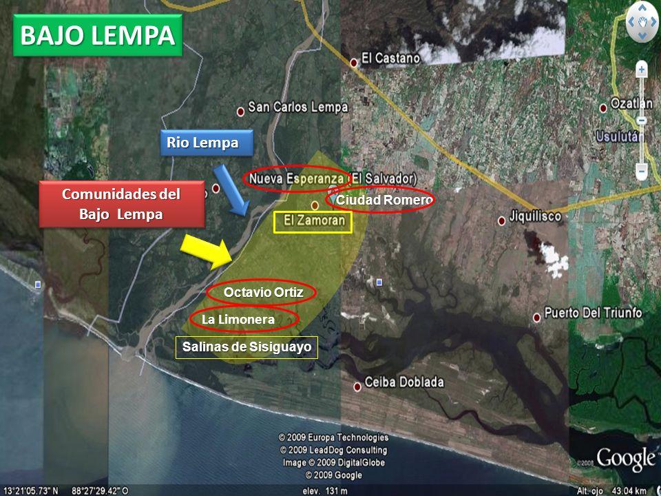 Rio Lempa Octavio Ortiz Salinas de Sisiguayo Ciudad Romero Comunidades del Bajo Lempa La Limonera BAJO LEMPA