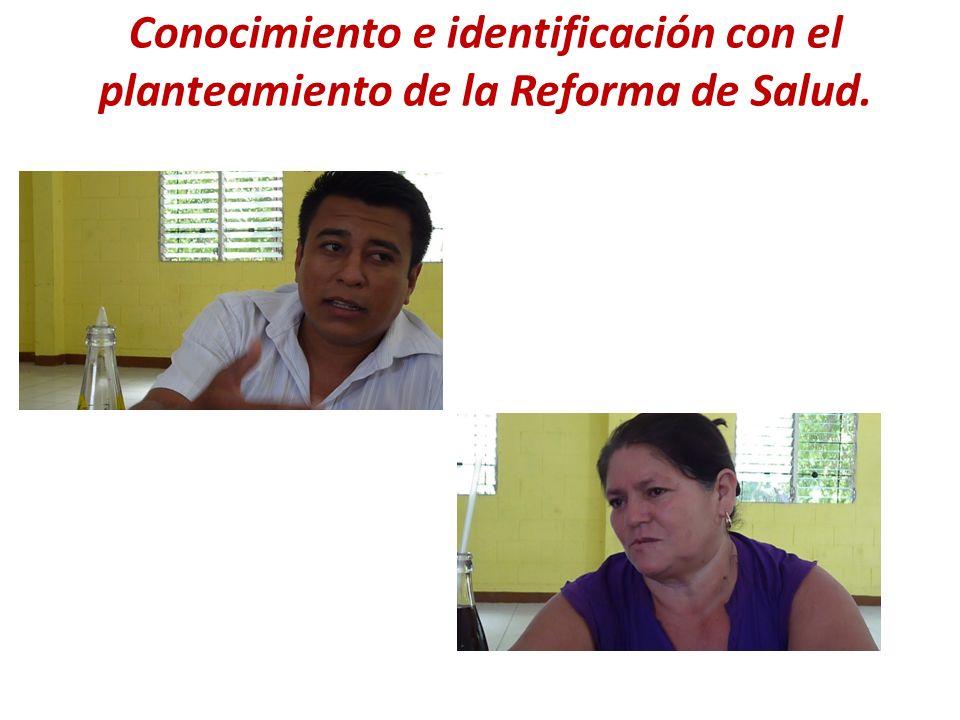 Conocimiento e identificación con el planteamiento de la Reforma de Salud.