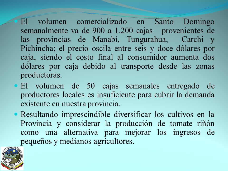 OBJETIVOS: OBJETIVO GENERAL: Evaluar la respuesta agronómica de tres híbridos de tomate riñón (Lycopersicum esculentum Mill), de crecimiento indeterminado, utilizando tres densidades de siembra bajo condiciones protegidas, en la Provincia de Santo Domingo de los Tsáchilas.