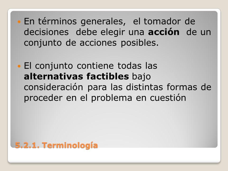 5.2.1. Terminología 5.2.1. Terminología En términos generales, el tomador de decisiones debe elegir una acción de un conjunto de acciones posibles. El
