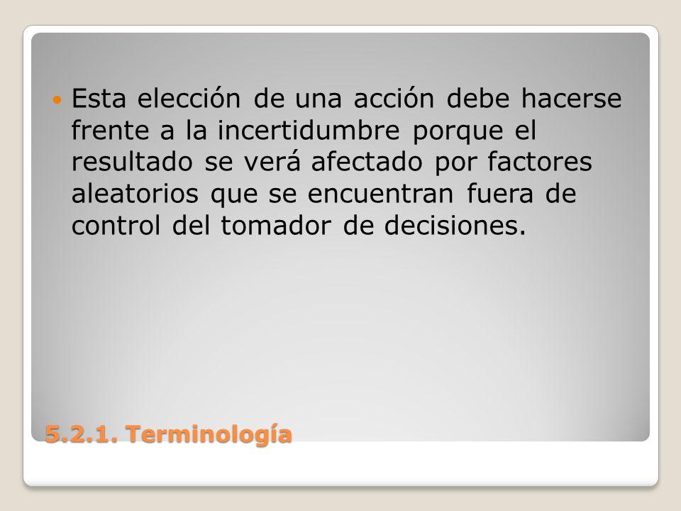 5.2.1. Terminología 5.2.1. Terminología Esta elección de una acción debe hacerse frente a la incertidumbre porque el resultado se verá afectado por fa