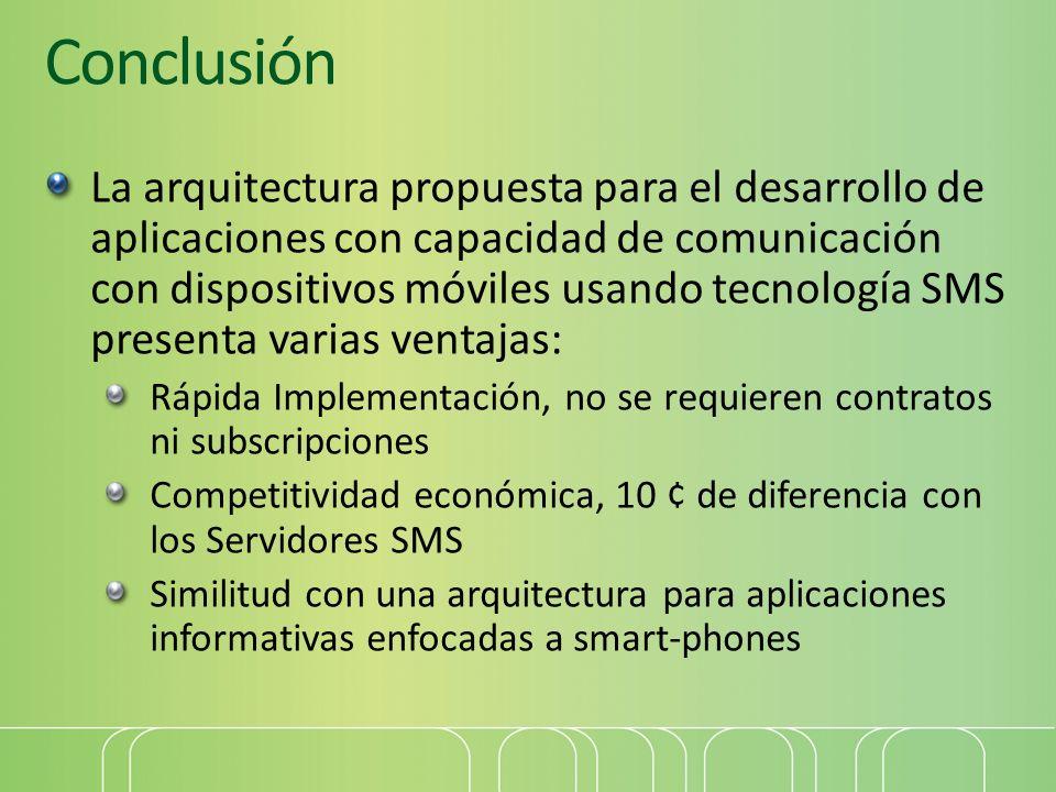 Conclusión La arquitectura propuesta para el desarrollo de aplicaciones con capacidad de comunicación con dispositivos móviles usando tecnología SMS p