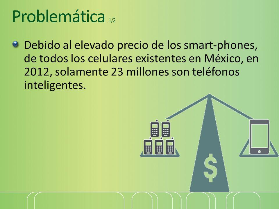 Problemática 1/2 Debido al elevado precio de los smart-phones, de todos los celulares existentes en México, en 2012, solamente 23 millones son teléfon