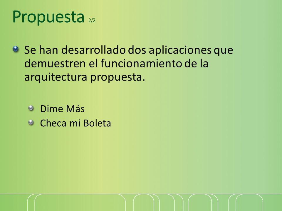 Propuesta 2/2 Se han desarrollado dos aplicaciones que demuestren el funcionamiento de la arquitectura propuesta. Dime Más Checa mi Boleta