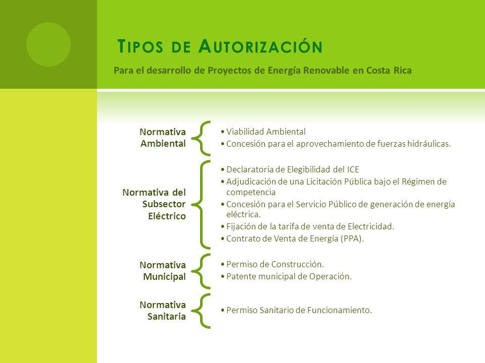T IPOS DE A UTORIZACIÓN Normativa Ambiental Viabilidad Ambiental Concesión para el aprovechamiento de fuerzas hidráulicas.
