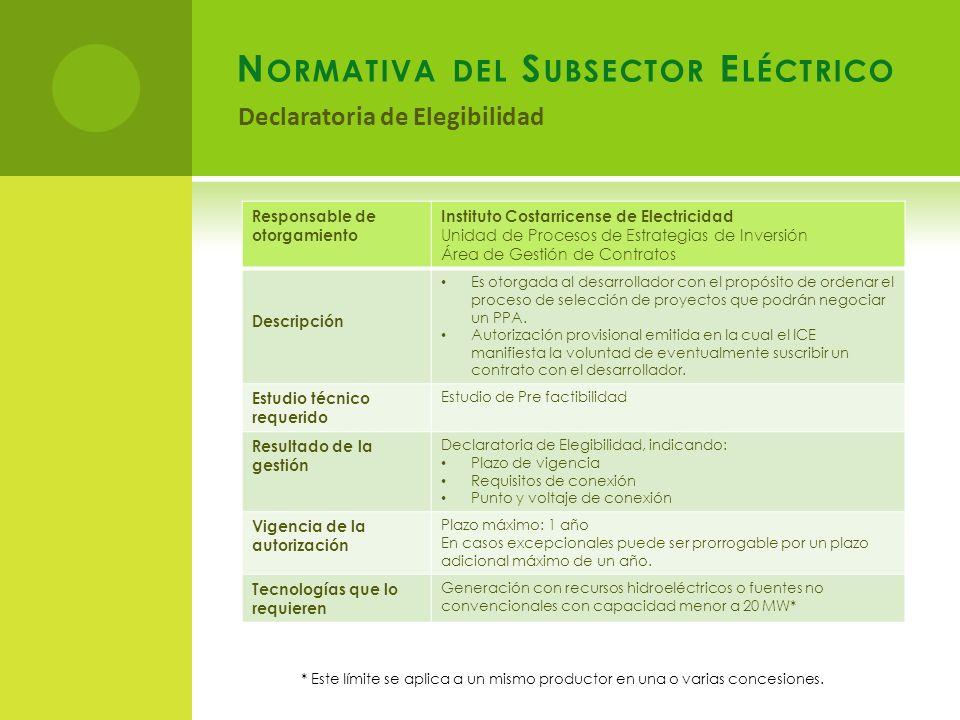 N ORMATIVA DEL S UBSECTOR E LÉCTRICO Declaratoria de Elegibilidad Responsable de otorgamiento Instituto Costarricense de Electricidad Unidad de Proces