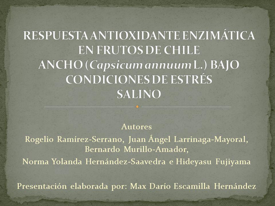 Autores Rogelio Ramírez-Serrano, Juan Ángel Larrinaga-Mayoral, Bernardo Murillo-Amador, Norma Yolanda Hernández-Saavedra e Hideyasu Fujiyama Presentac