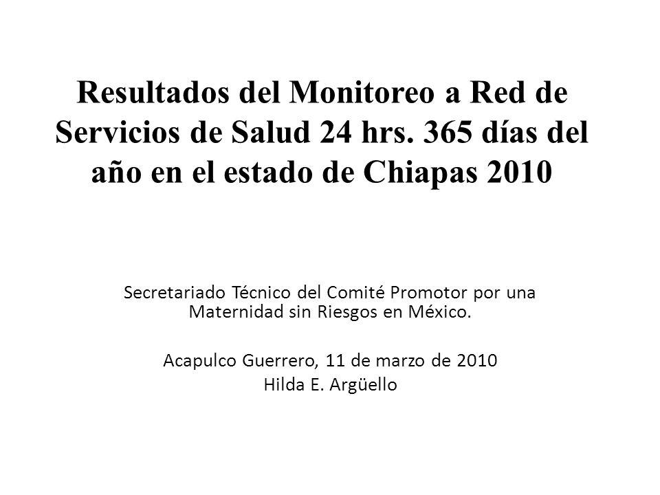 Resultados del Monitoreo a Red de Servicios de Salud 24 hrs. 365 días del año en el estado de Chiapas 2010 Secretariado Técnico del Comité Promotor po