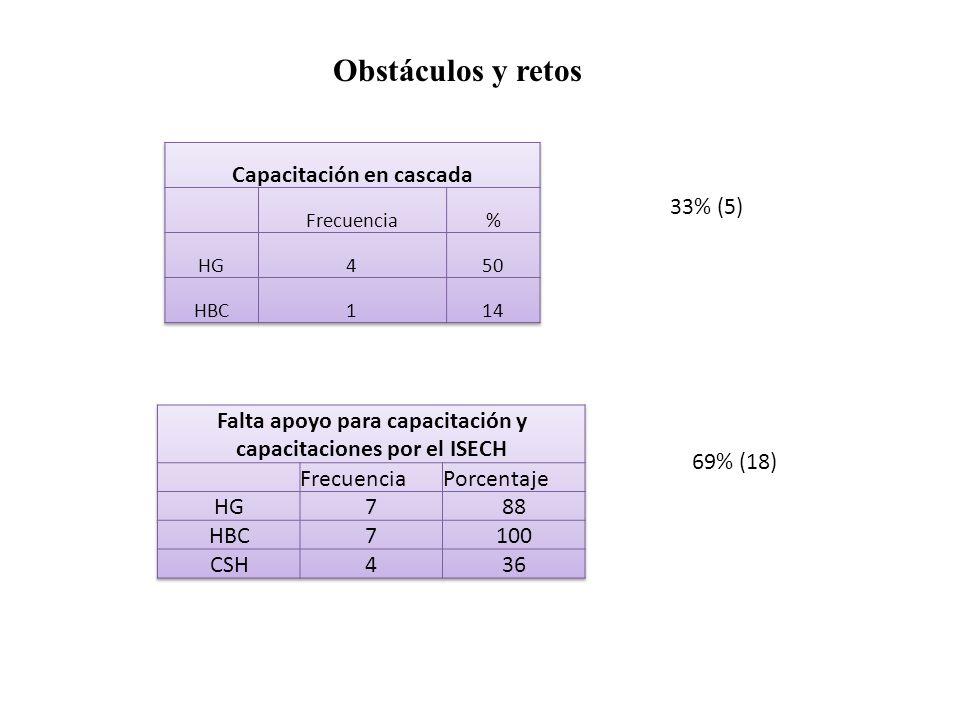Obstáculos y retos 33% (5) 69% (18)