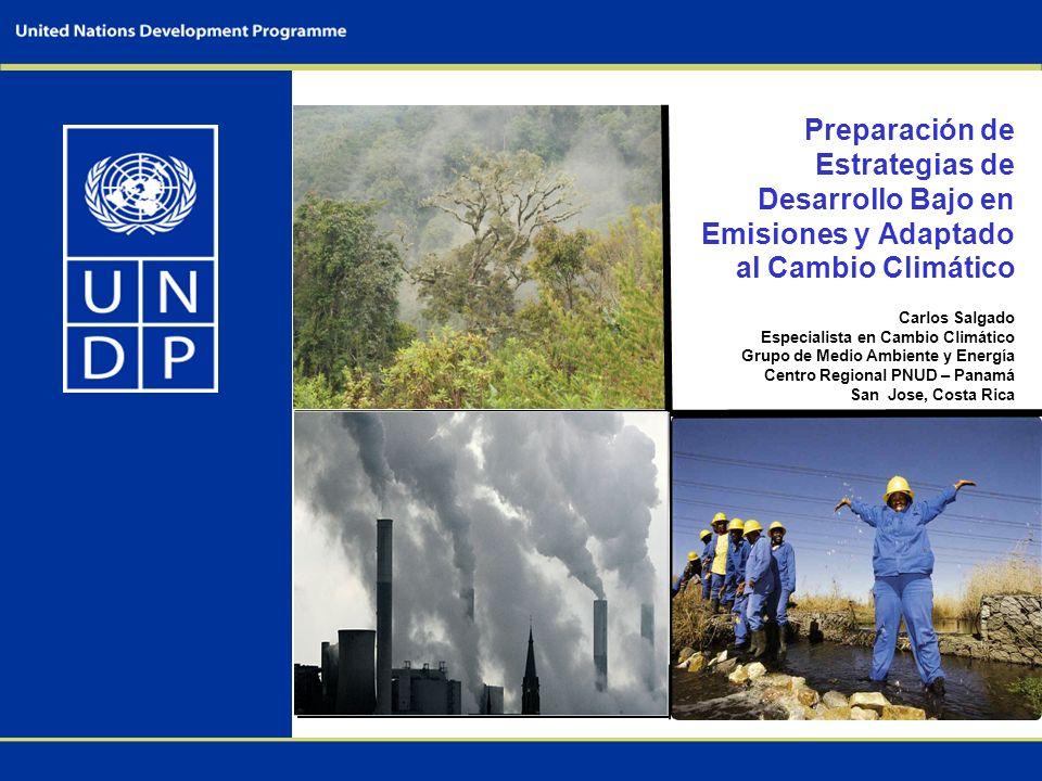 Preparación de Estrategias de Desarrollo Bajo en Emisiones y Adaptado al Cambio Climático Carlos Salgado Especialista en Cambio Climático Grupo de Medio Ambiente y Energía Centro Regional PNUD – Panamá San Jose, Costa Rica