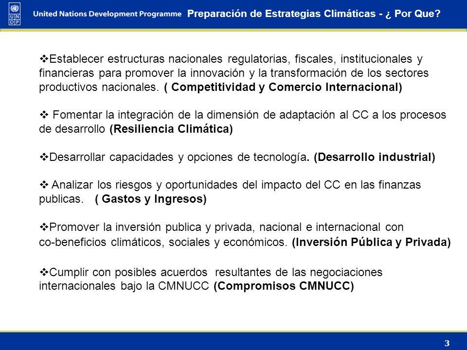 3 Preparación de Estrategias Climáticas - ¿ Por Que? Establecer estructuras nacionales regulatorias, fiscales, institucionales y financieras para prom