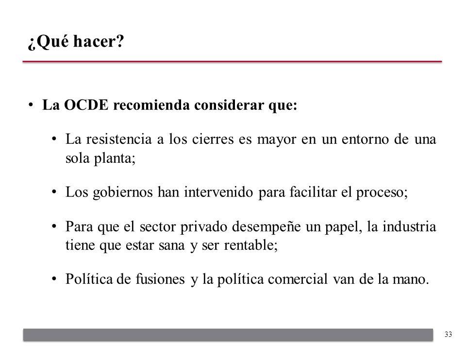 La OCDE recomienda considerar que: La resistencia a los cierres es mayor en un entorno de una sola planta; Los gobiernos han intervenido para facilita