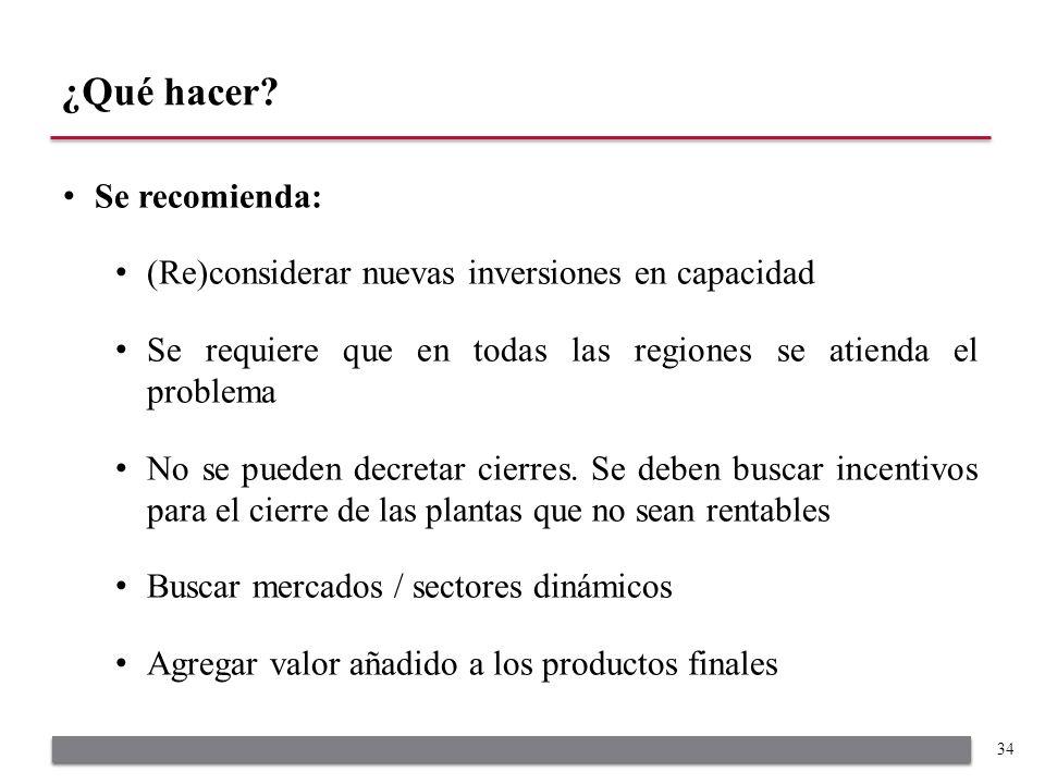 Se recomienda: (Re)considerar nuevas inversiones en capacidad Se requiere que en todas las regiones se atienda el problema No se pueden decretar cierr