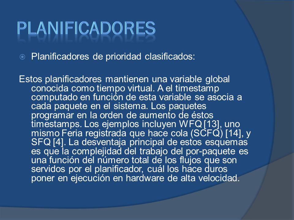 Planificadores de prioridad clasificados: Estos planificadores mantienen una variable global conocida como tiempo virtual. A el timestamp computado en