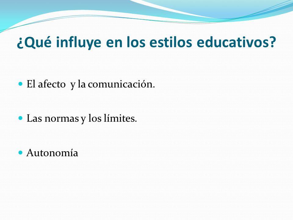 ¿Qué influye en los estilos educativos? El afecto y la comunicación. Las normas y los límites. Autonomía