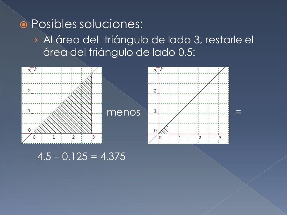 Posibles soluciones: Al área del triángulo de lado 3, restarle el área del triángulo de lado 0.5: menos = 4.5 – 0.125 = 4.375