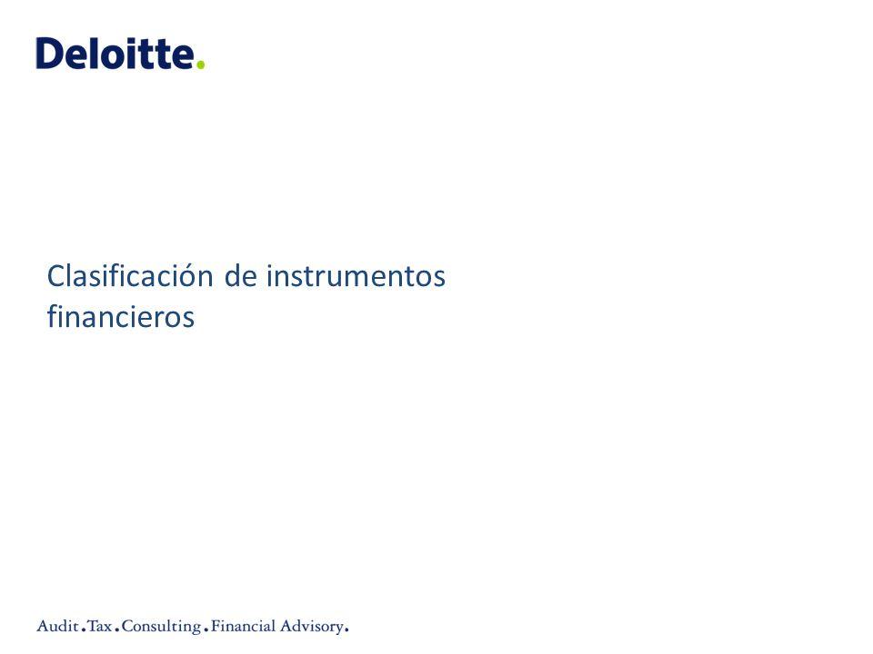 Clasificación de instrumentos financieros