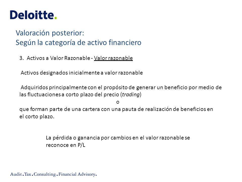 3. Activos a Valor Razonable - Valor razonable Activos designados inicialmente a valor razonable Adquiridos principalmente con el propósito de generar