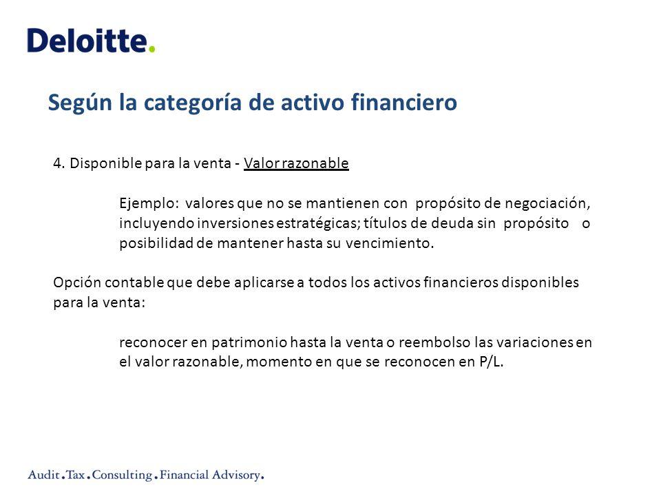 4. Disponible para la venta - Valor razonable Ejemplo:valores que no se mantienencon propósito de negociación, incluyendo inversiones estratégicas; tí