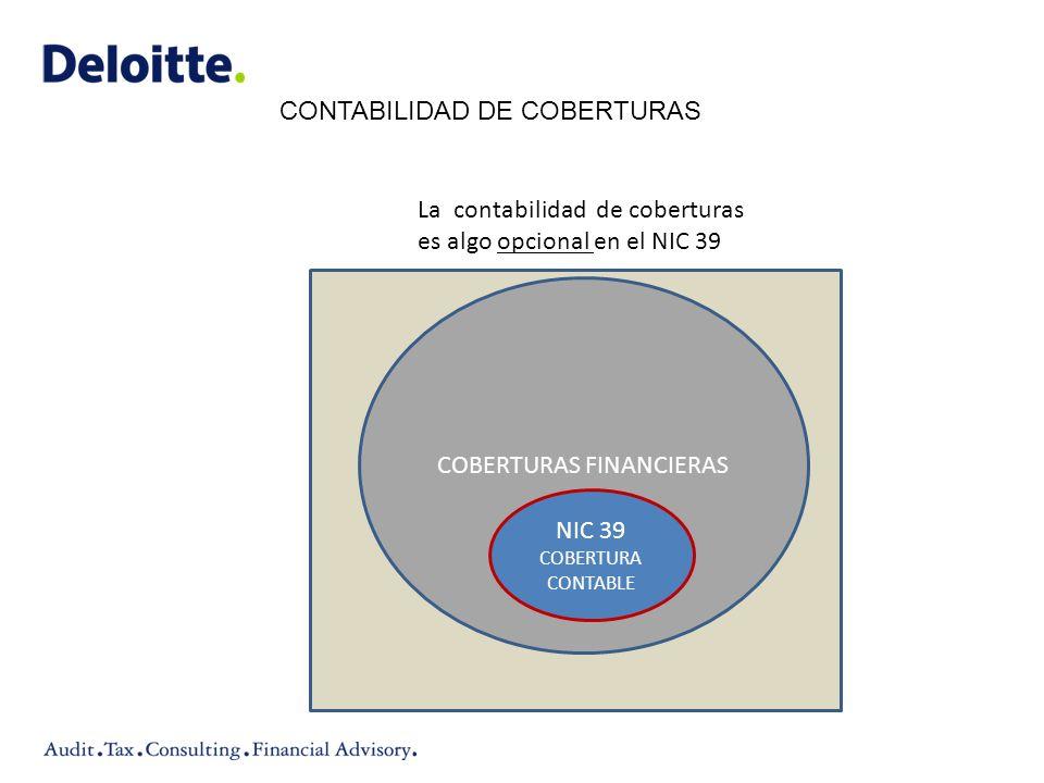 COBERTURAS FINANCIERAS NIC 39 COBERTURA CONTABLE La contabilidad de coberturas es algo opcional en el NIC 39 CONTABILIDAD DE COBERTURAS