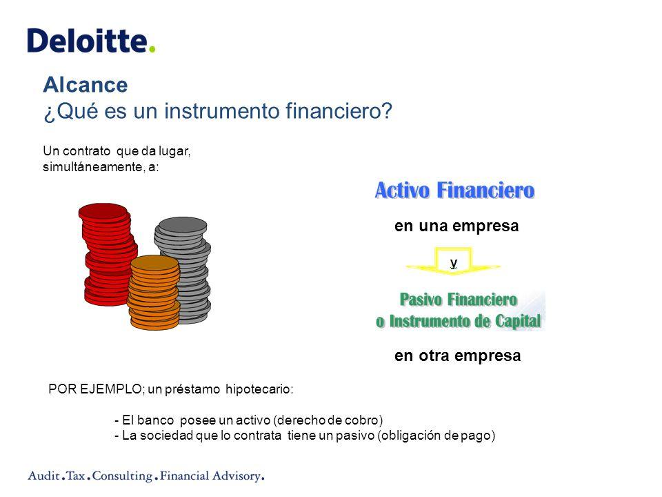 Alcance ¿Qué es un instrumento financiero? en una empresa en otra empresa Un contrato que da lugar, simultáneamente, a: POR EJEMPLO; un préstamo hipot