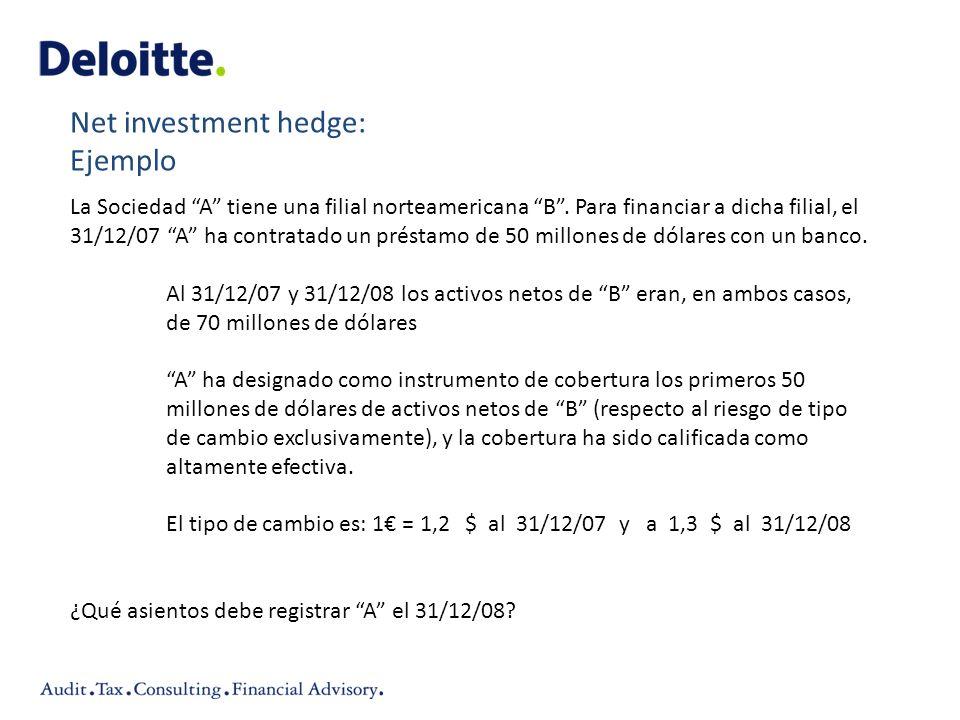 La Sociedad A tiene una filial norteamericana B. Para financiar a dicha filial, el 31/12/07 A ha contratado un préstamo de 50 millones de dólares con