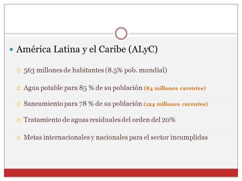 América Latina y el Caribe (ALyC) 563 millones de habitantes (8.5% pob. mundial) Agua potable para 85 % de su población (84 millones carentes) Saneami