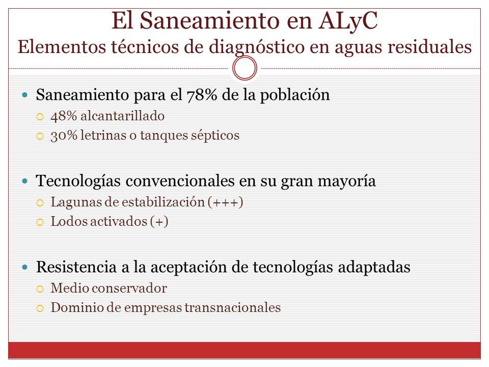 El Saneamiento en ALyC Elementos técnicos de diagnóstico en aguas residuales Saneamiento para el 78% de la población 48% alcantarillado 30% letrinas o