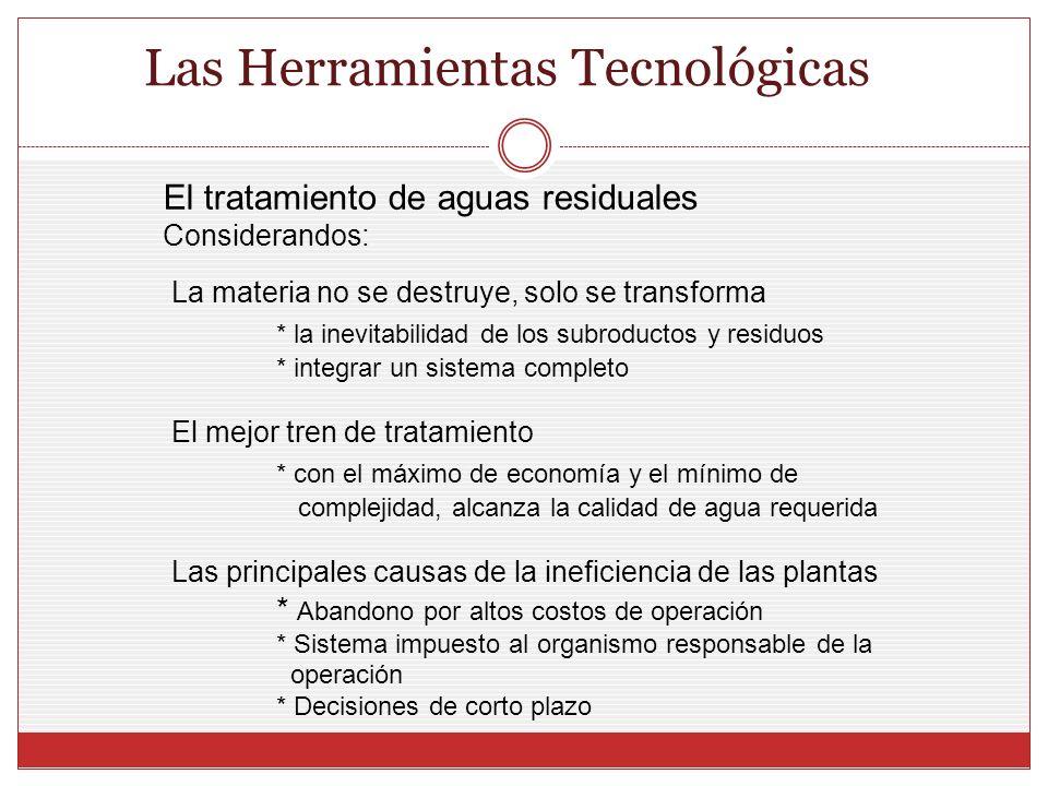 Las Herramientas Tecnológicas La materia no se destruye, solo se transforma * la inevitabilidad de los subroductos y residuos * integrar un sistema co