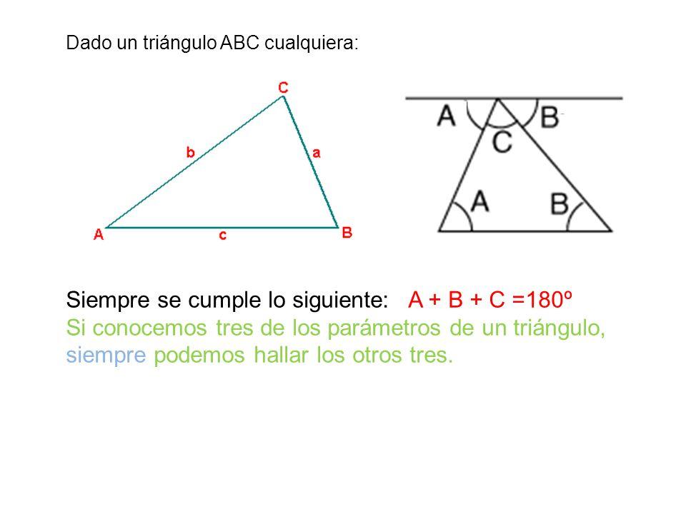 Dado un triángulo ABC cualquiera: Siempre se cumple lo siguiente: A + B + C =180º Si conocemos tres de los parámetros de un triángulo, siempre podemos