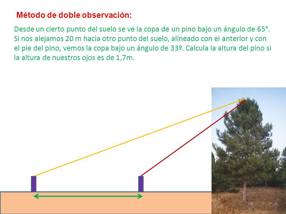 Desde un cierto punto del suelo se ve la copa de un pino bajo un ángulo de 65°. Si nos alejamos 20 m hacia otro punto del suelo, alineado con el anter