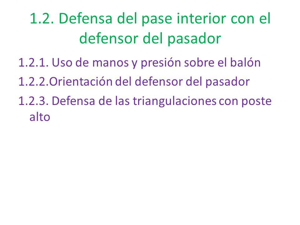 1.2. Defensa del pase interior con el defensor del pasador 1.2.1. Uso de manos y presión sobre el balón 1.2.2.Orientación del defensor del pasador 1.2